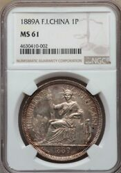 F030 Scarce 1889-a French Indo China Ngc Ms61. Only 3 Coin Grade Higher