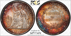 F008 1900-a French Indo China Piastre Silver Lec-282 Pcgs Ms63