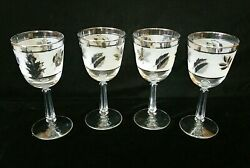 4 Vtg Rare Libbey Frosted Silver Foliage Leaf 7-1/4 Tall Stem Wine Glasses