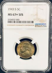 1943s Ms 67+ 5fs Ngc Certified Amazing Golden Toning