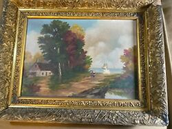 Antique Lake Michigan Scene Oil Painting - Signed And Framed
