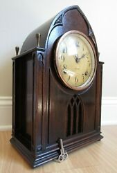 Antique Gilbert Cathedral Mantel Clock Antique Wood Rare Key Incredible