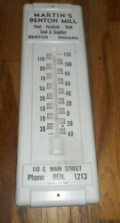 Vintage Martins Benton Indiana In Mill Advertising Coal Feed Seed Thermometer