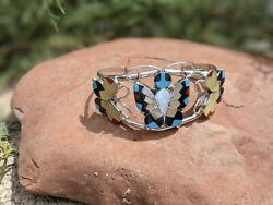Zuni Cuff Bracelet Butterfly Turquoise 6.5 Inlay Sterling Signed Native Jewelry