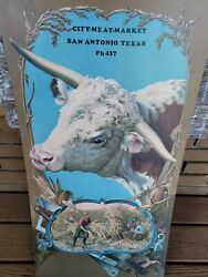 Meat Market Adv Pc Hereford Bull 17x34 Estate Piece Ships Usps