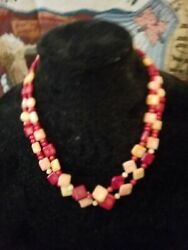 Mine Finds By Jay King Strawberry Coral 2 Strand Necklace And Matching Earrings