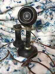 Vintage Antique Black Silver Kellogg Candlestick Phone Early 1900#x27;S