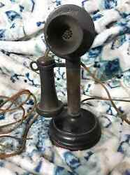 Vintage Antique Black Brown Kellogg Candlestick Phone Early 1900#x27;S