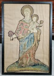 Antique Italian 17th Century Virgin Mary Christ Needlework Embroidery Tapestry
