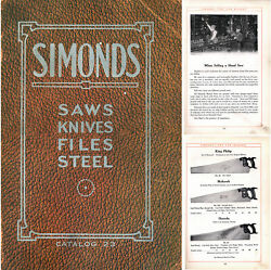 Orig. General Line Catalogue Of Saws Knives And Files - Simonds And Co. - 191 Pgs.