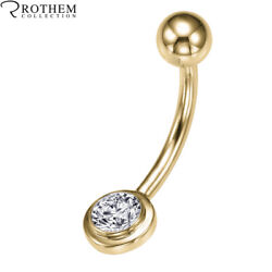 Womens Gift 0.53 Ct Si2 Navel Belly Button Diamond Ring Yellow Gold 52154275