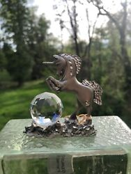 Masterworks Fine Pewter Leaping Unicorn And Crystal Fancy Figurine - Free Ship
