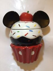 Disney Mickey Mouse Cupcake Sprinkles Cherry Ears Cookie Jar Ceramic New 8andrdquo Tall