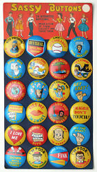 Vintage Nos 1950's Enn_ess Sassy Buttons 24 Pieces On Store Display Card Japan
