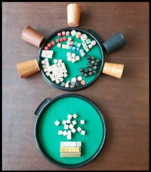 Lot - Vintage Dice Leather Cup Poker Craps Marker Casino Club Tray Game Chips