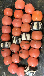 Large Old Heavy Antique Handmade Tibetan Natural Red Coral Prayer Bead Necklace