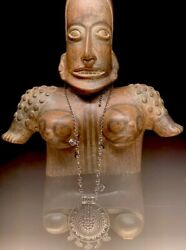 Huge Vintage Pre-columbian Style Mayan Aztec God Clay Statue Mexican Pottery