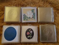 Vtg 80s Hallmark Self-adhesive Gold Foil Initials F And G, Flowers, Peacock Seals