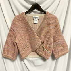 Cashmere Wool Silk Mixed Coco Mark Button Short Length Knit Jacket Size S