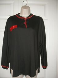 Women's Small Vintage Pajamas Top And Pants Set Black Red Cotton And Polyester
