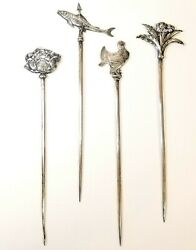 Antique French Christofle Silver Plate Meat Skewer Set Of 4 Brochettes Rare