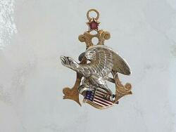 Rare Anheuser Busch Beer Eagle 14k Gold Sterling Silver Ruby Watch Fob Necklace