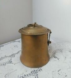Vintage Brass Container Stash Box W/ Hinged Lid Engraved Design