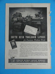 Southbend Toolroom Lathe Works - Indiana Original Print Advertisement 1944 Wwii