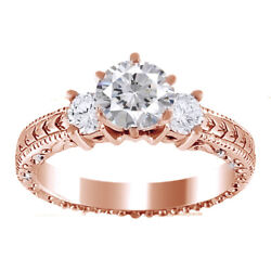 Round Cut Moissanite 3 Three-stone Antique Style Engagement Ring 14k Rose Gold