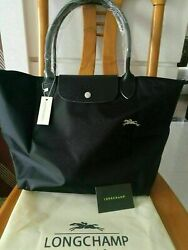 NEW Longchamp Le Pliage Tote Bag Nylon 1899 with Horse Embroidery Black Large L $39.99