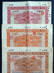 1898 China 3x Chinese Imperial Government - Andpound25 Andpound50 Andpound100 Gold Loans