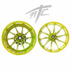 Ninja 240 Fat Tire Yellow Contrast Launch Wheels 06-11 Kawasaki Ninja Zx-14