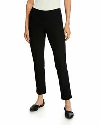 New Eileen Fisher Lightweight Yoke Crepe Knit Ankle Pants In Black - Size M P738