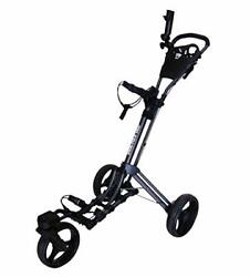 360 Swivel 3 Wheel Push Pull Golf Cart With 360 Rotating Front Charcoal/black