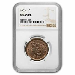 1853 Large Cent Ms-65 Ngc Red/brown - Sku193267