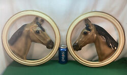 Vtg 2pc 70andrsquos Chalk Sculpture Ware Ca Thoroughbred Horse Hanging 3d Wall Plaque