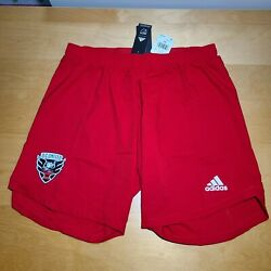 New Adidas Dc United Authentic Red Soccer Shorts Aeroready Mls Mens Size Xl