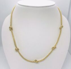 18k Yellow Gold 16 Inch 750 Italy Knotted Mesh Necklace