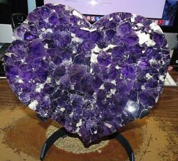 Large Amethyst Crystal Cluster Heart Geode From Brazil On Steel Stand