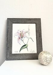 Watercolor Painting Flowers Original Signed Framed