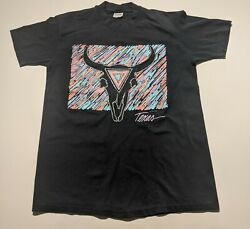 Vtg 80s Men#x27;s Large Texas Artwork Graphic Tee Shirt