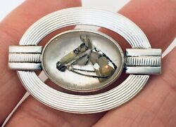 Antique Edwardian Sterling Silver Essex Rock Crystal Reverse Painted Horse Pin