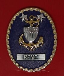 U.s. Coast Guard Rfmc With Blue Background. New Badge Rating Force Master Chief