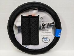 Plush Black Steering Wheel Cover And Seat Belt Shoulder Pads For Auto-car-truck