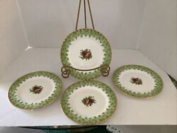 4-rare Royal Albert Old Country Roses England Green Accent Salad Luncheon Plate