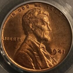 1941 No Mint Mark Lincoln Wheat Cent Penny 1c Pcgs Ms64 Rb Bu Uncirculated P2267