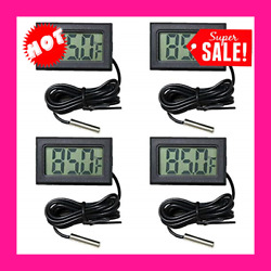 4 Pack Fahrenheit Digital Thermometer Wired For Indoor Outdoor Garden Black