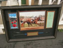 Secretariat Large Shadow Box Kentucky Derby 1973 Signed By Ron Turcotte Rare