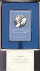 1973 Mothers Day Commemorative Medal Franklin Mint Sterling Silver