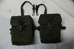 Us Military Issue Vietnam M1956 7.62 308 Canvas Rifle Magazine Pouch Lot Of 2 R2
